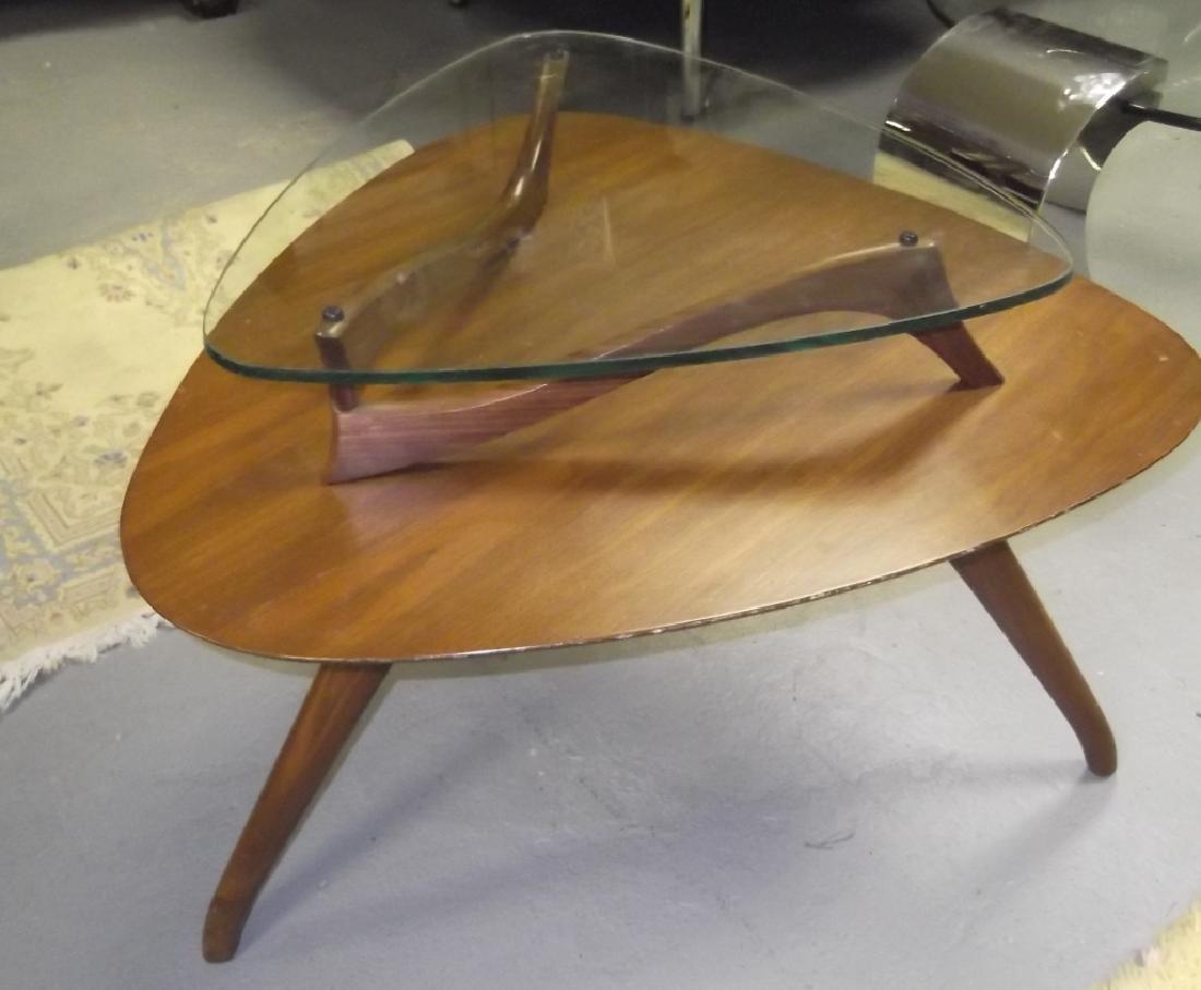 Mid-century modern Vladimir Kagan glass top table