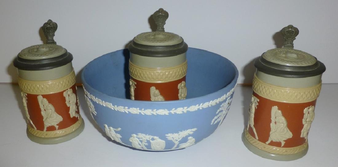 Wedgwood bowl & Villeroy steins