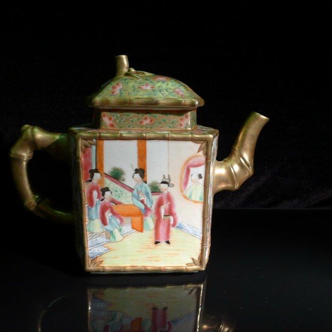 A Republic of China, Guang Cai hexagonal teapot