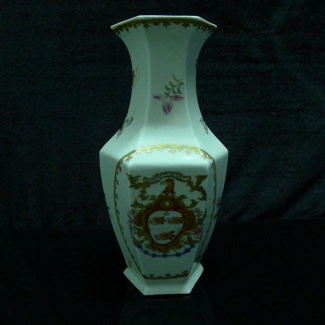 A Chinese famille rose hexagonal bottle