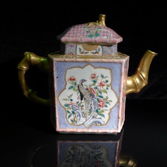 A Chinese famille rose hexagonal teapot