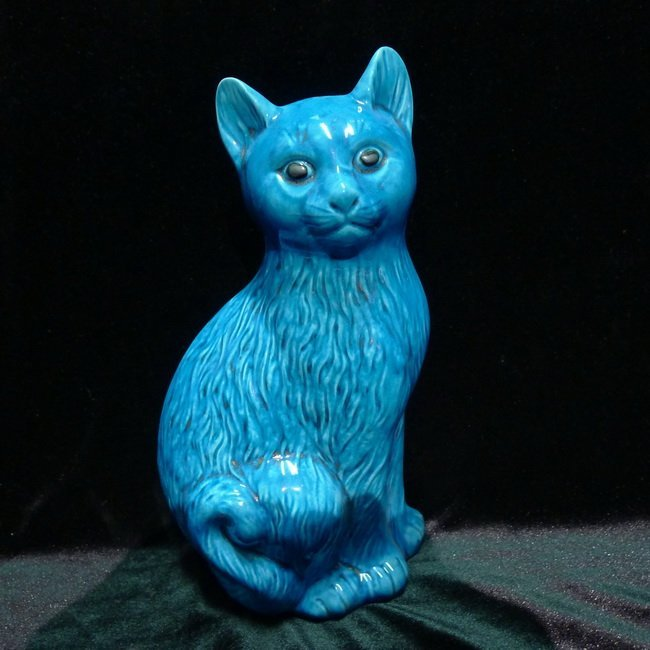 A Chinese blue glazed porcelain cat