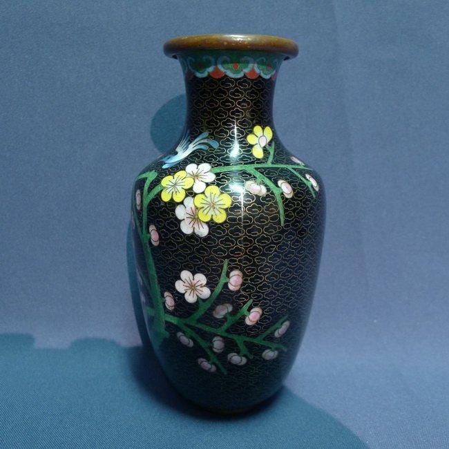 A Chinese Antique Black Cloisonne Bronze Vase