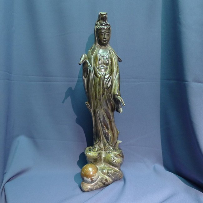 A Chinese bronze copper dripping Guanyin