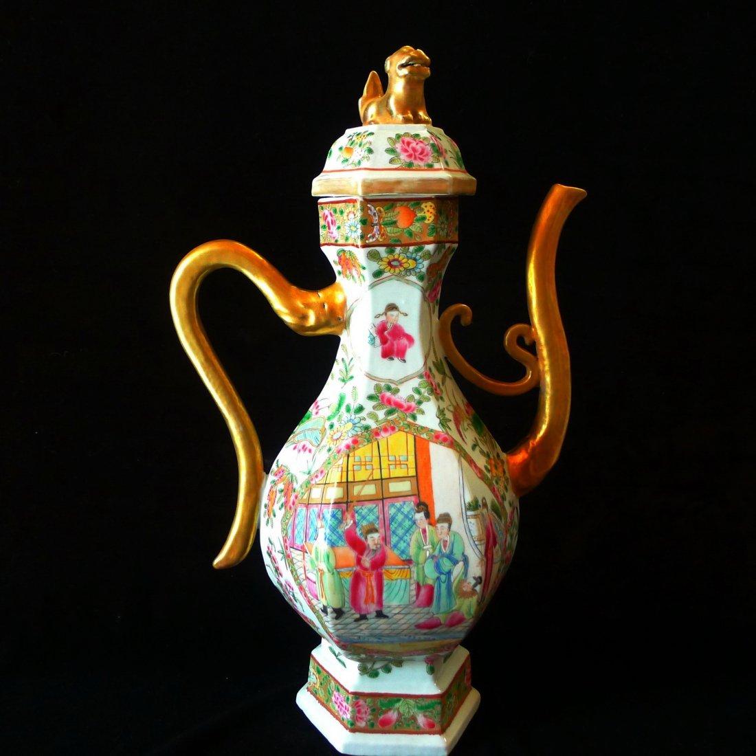 Chinese Antique Huang Cai Hexagonal Teapot
