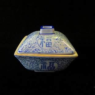 Chinese Blue & White Porcelain Box