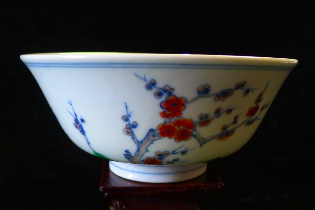 Chinese DouCai Meihua Pine Trees Bowl