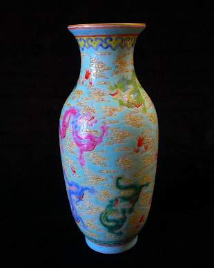 The Nine Dragons of Chinese Famille Rose Vase