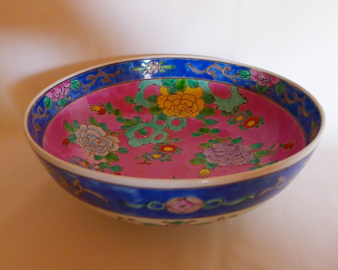 Chinese Antique Corel Red Famille Rose Porcelain Bowl