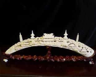 Fine & Rare Chinese Antique Carved Ivory Bridge