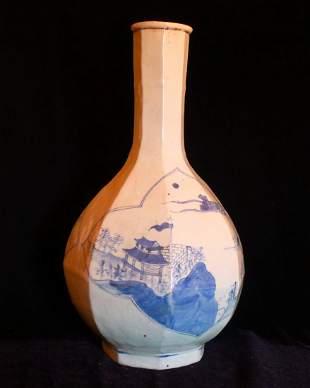 Chinese Antique Blue and White Porcelain Octagonal Bott