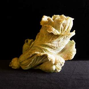 A Chinese White Jadeite carving Green Cabbage