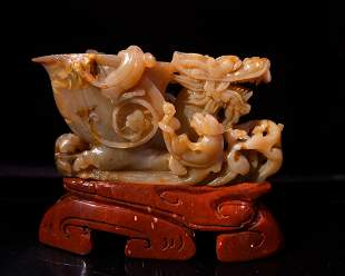 Chinese Shoushan Stone Dragon Cup