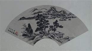 A Chinese Fan face hand Painting By FengJianWei