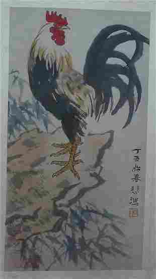 A Chinese hand Painting Rooster by Xu Beijing