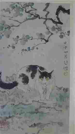 A Chinese Cat Painting Hand by Xu Beihong