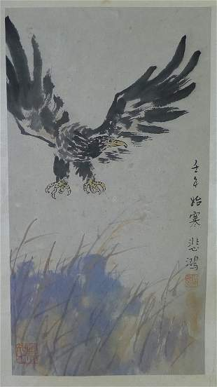 A Chinese Eagle Painting Hand By Xu Beihong
