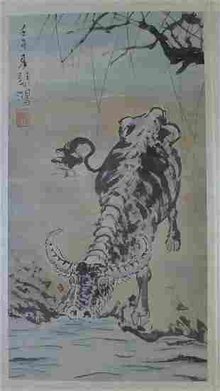 A Chinese Bull Painting Hand By Xu Beihong