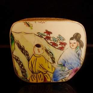 A Chinese Antiques Porcelain Plaque Silver Box