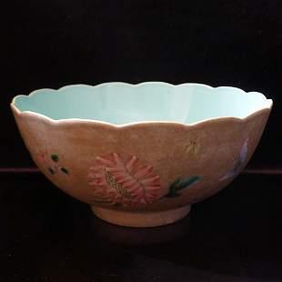 Qing Period green lotus leaf bowl