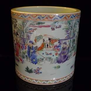 Chinese Antique multicolored Porcelain Brush Pot