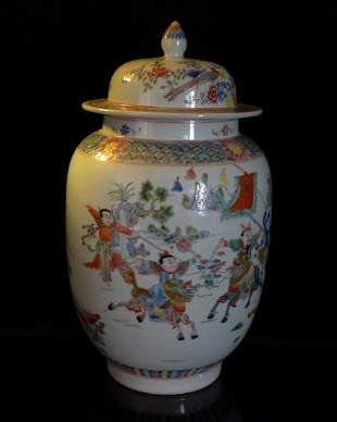 A Chinese Antique Multicolored Figures Generals Jar