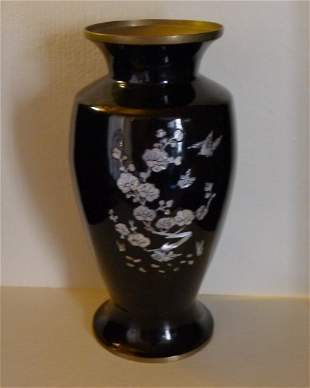 Japanese Black Lacquer Inlaid wWth -inlay Copper Vase