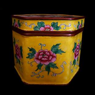 Republic of China Enamel Colors Tea Box- Hexagonal