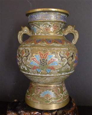 Chinese Antiques Bronze Double Dragon Ears Vase