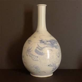 Chinese Antique Blue & White Porcelain Octagonal Bot