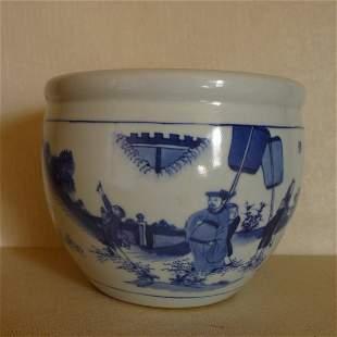 Qing Dynasty Antique Blue and White Porcelain FishTank