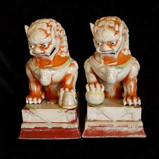 One Pair of Chinese Antiques White And Iron Red Lions