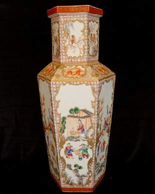 A Chinese Antique Hexagonal Wide Color Bottle