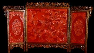 Pure red Varved Lacquer Tick Dragon and Phoenix Screen