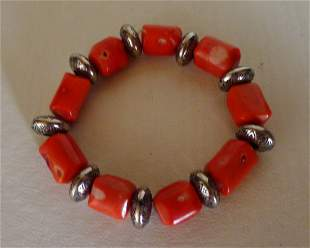 Chinese Red Coral Cylindrical Beads Bracelet
