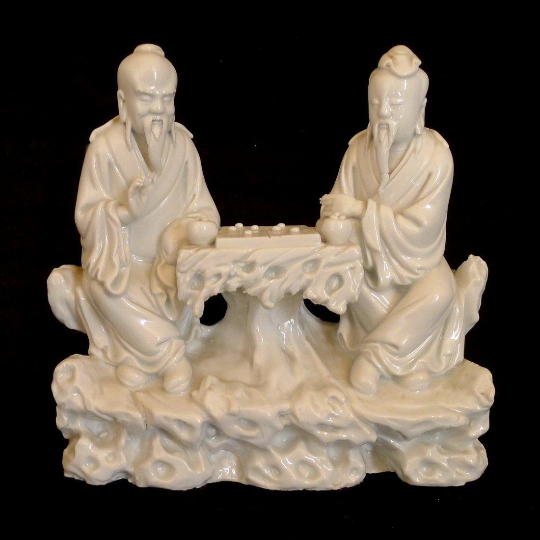 Chinese Dehua White Porcelain  - Playing Chess