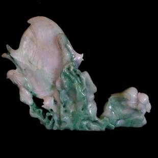 A Fine Chinese Green Jadeite Carved Fish