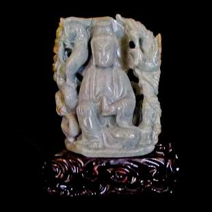 A Chinese Carved Jade Guanyin
