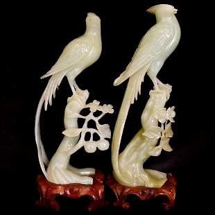 A Pair of Old Carved Jade Birds & Flowers Carving