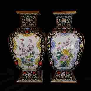 One pair of Chinese Enamel Painting Vases