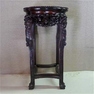 Chinese 20th C Tall Rosewood With Marble Center Stand