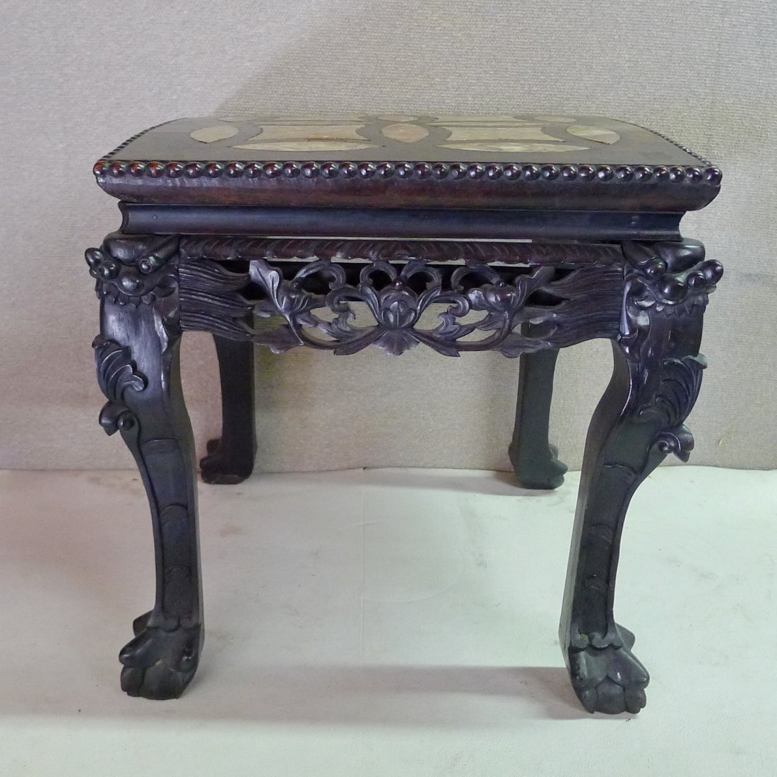 Chinese 20Th C Square Double The Money Rosewood Stand