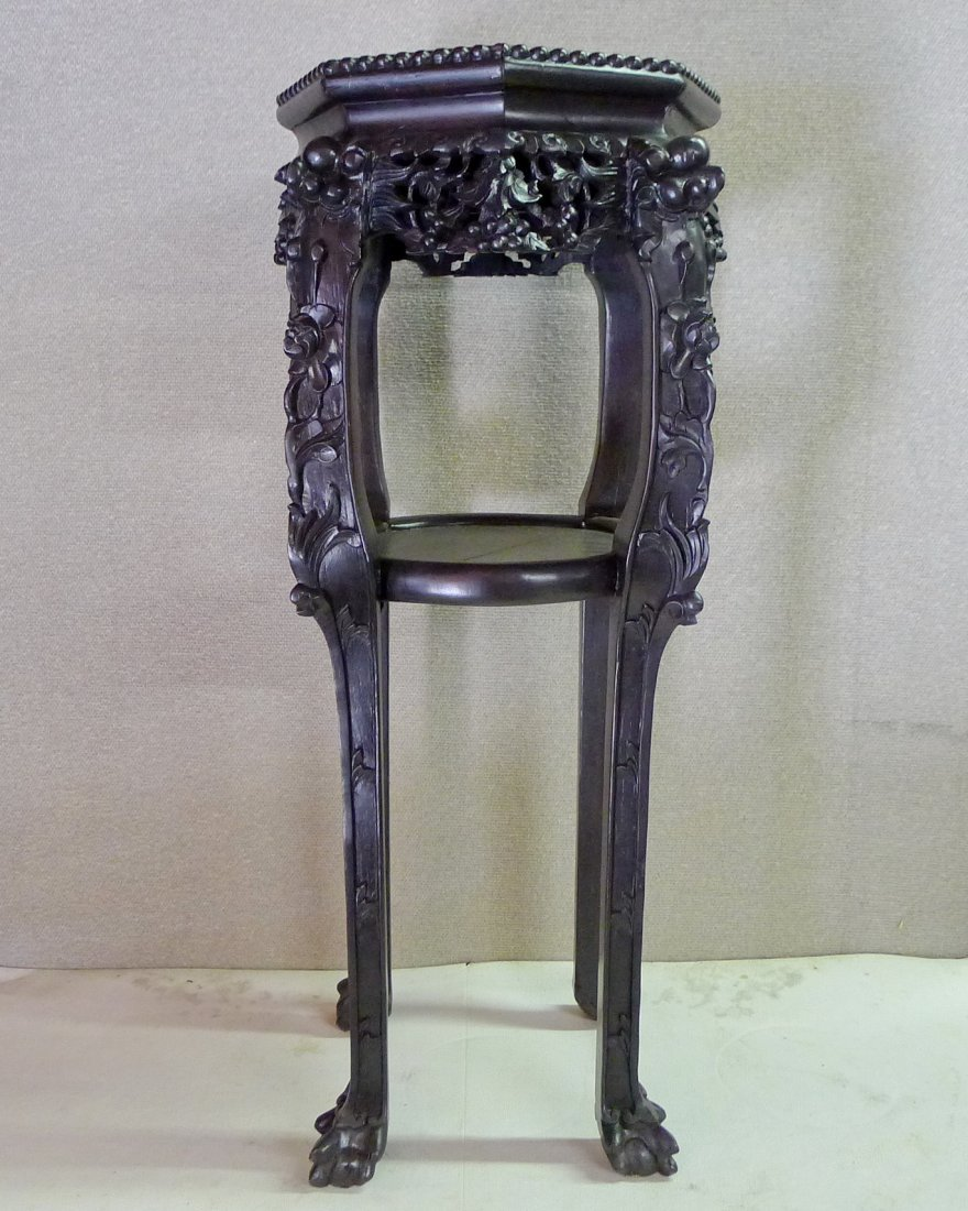 Chinese 20Th C Hexagonal Rosewood With Marble Stand