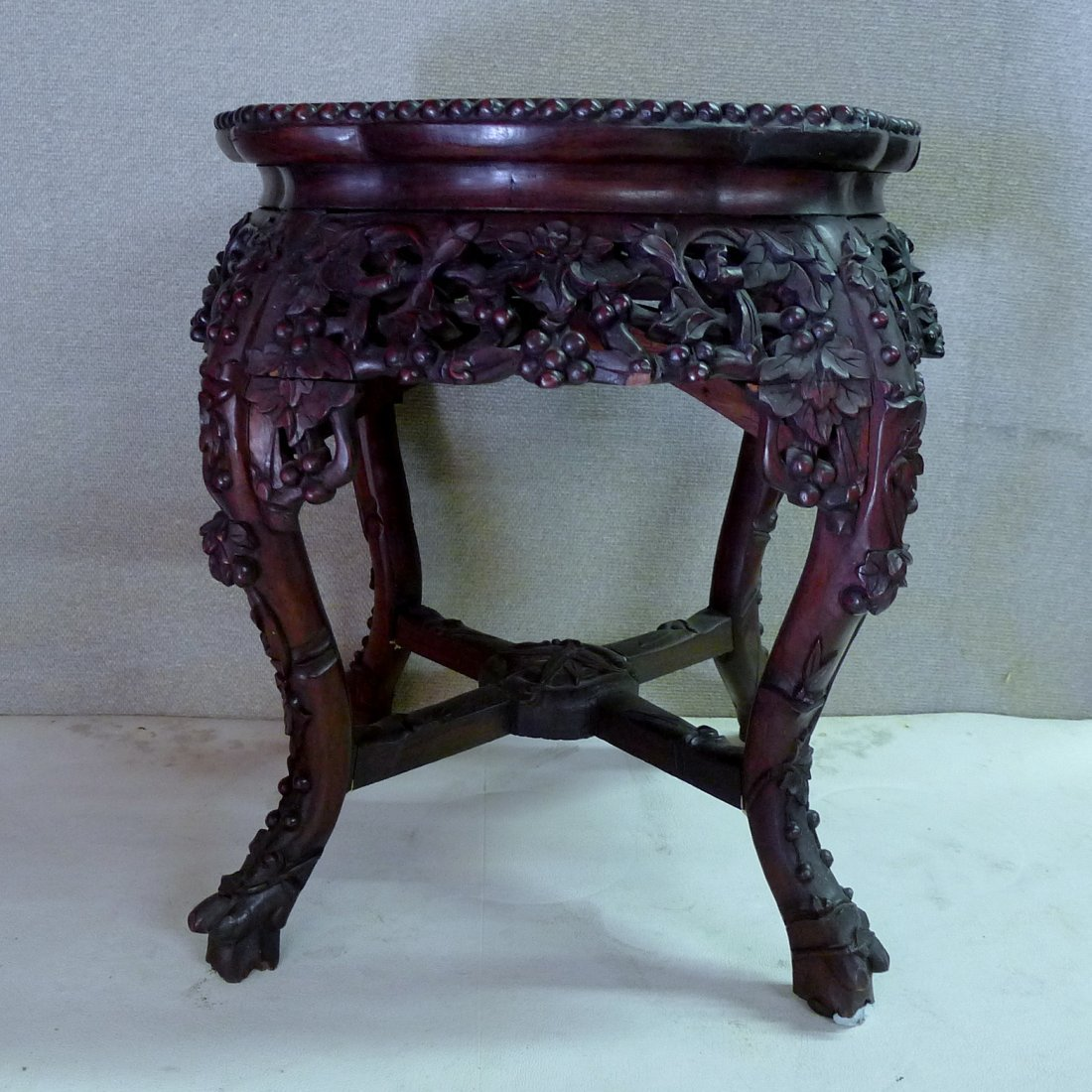 Chinese Plum Rosewood With Marble Center Stand