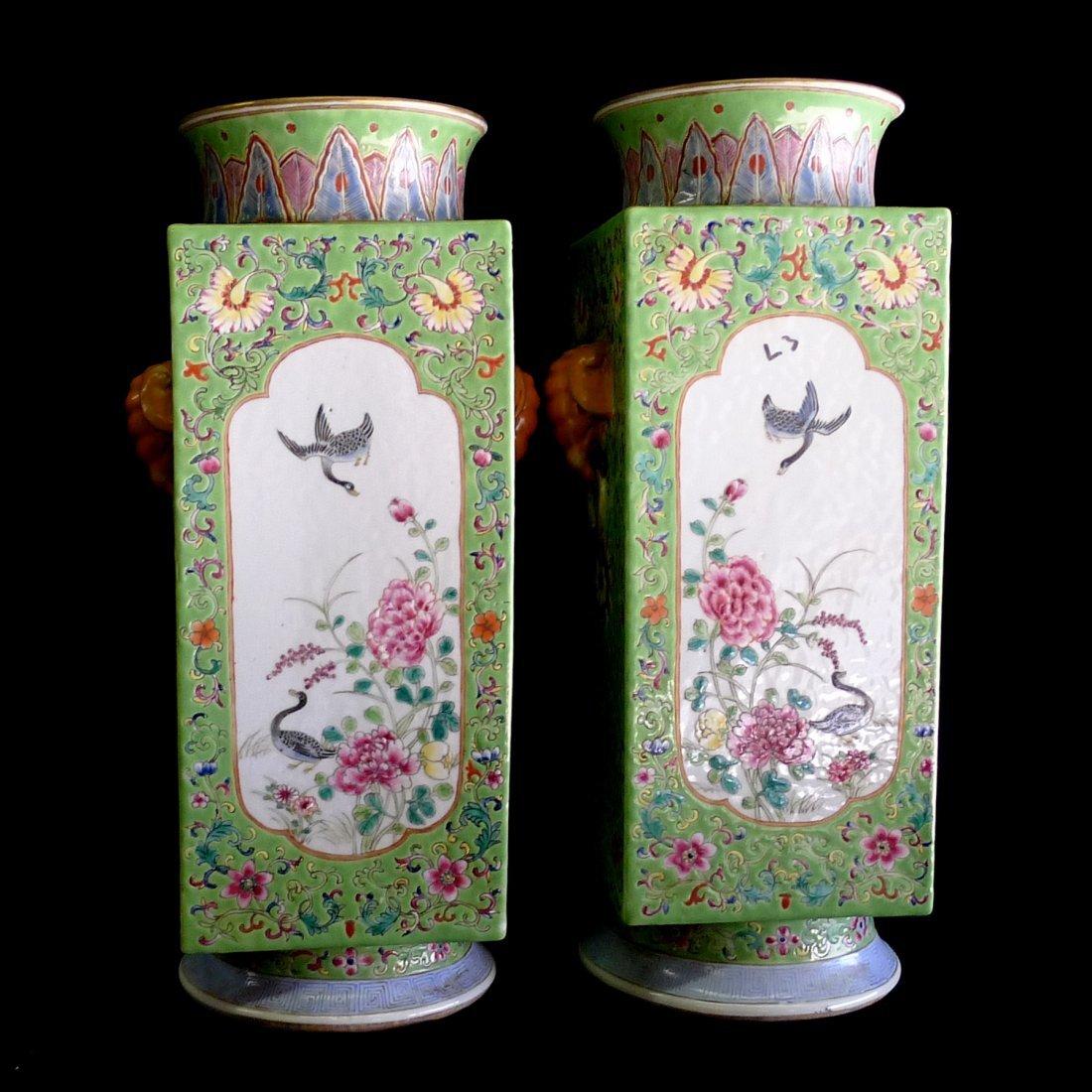 One Pair Of Porcelain Squared Vase( Qing Qianlong mark)