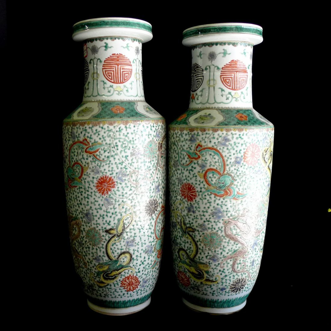Pair of Chinese Wucai Porcelain Dragon Vases