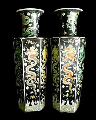 One Pair of Plain Three-Color Hexagonal Dragon Vases