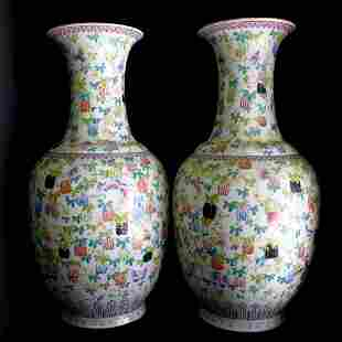 One Pair Of Qianlong-Style Famille Rose Vases