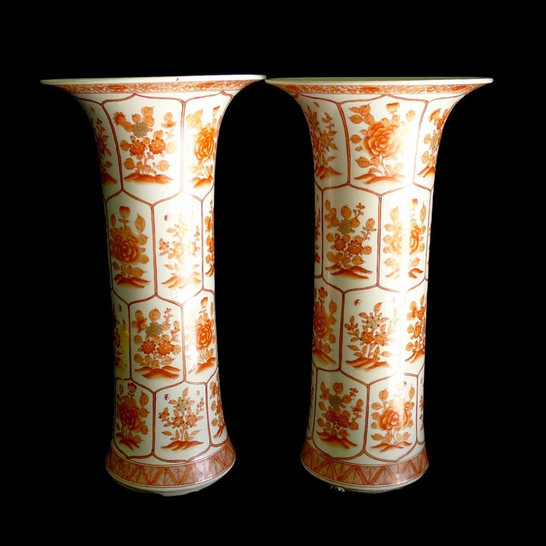 One Pair Of Chinese Alum Red Gilt Porcelain Vases