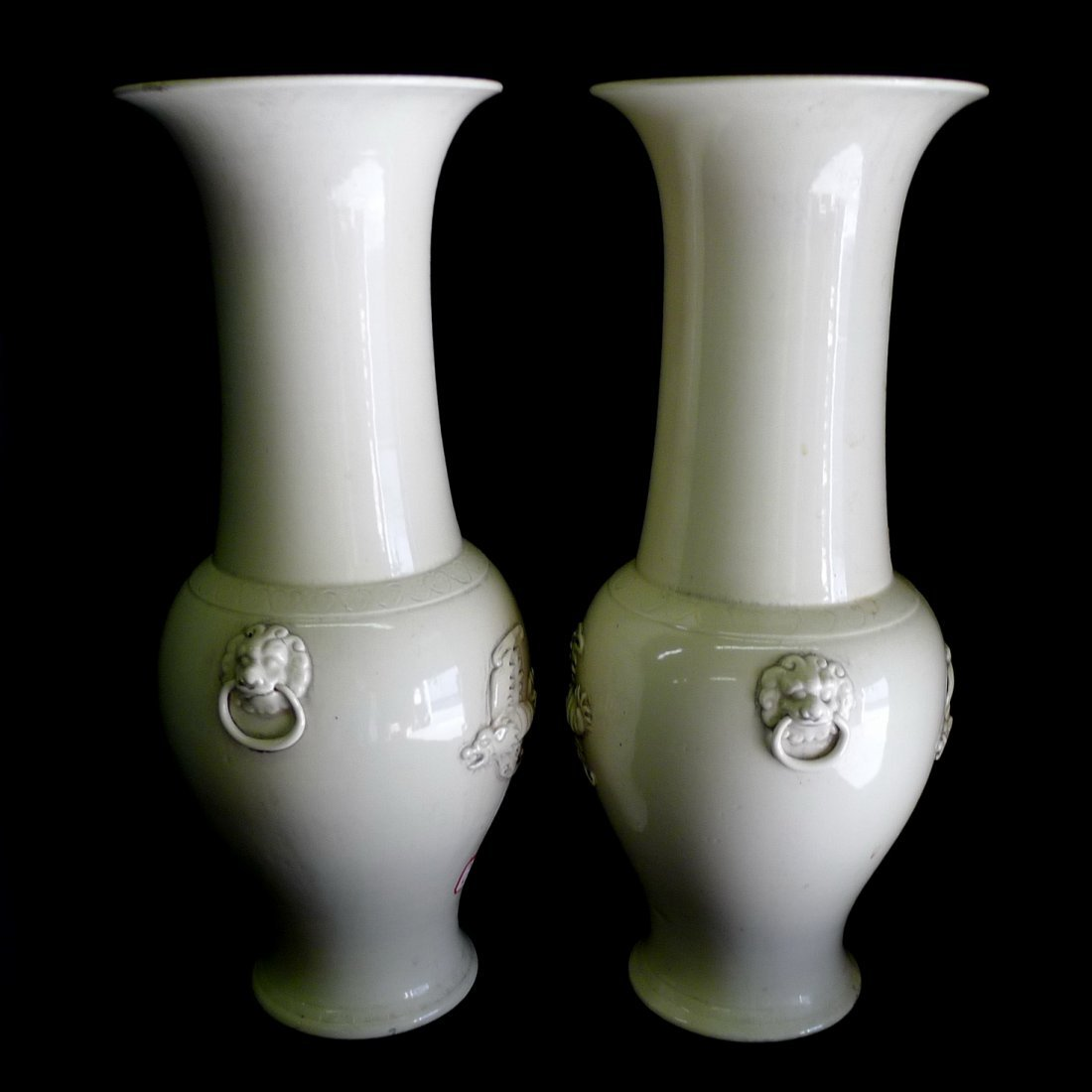 One pair of Chinese Dehua White Porcelain Cidiao Vases